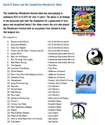 Butch R Baker and the CandleStyx  EPK  Song List Part 1