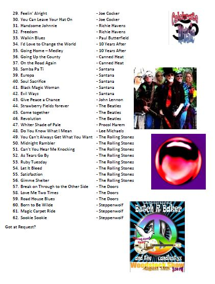 Butch R Baker and the CandleStyx  EPK  Song List Part 2